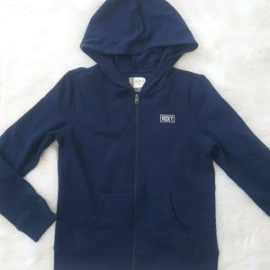 ROXY GIRL Zip-Up Hoodie in Blue Embroidered